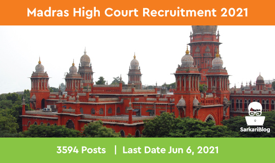 Madras High Court Recruitment 2021 Apply Online for 3557 Office Assistant posts at mhc.tn.gov.in