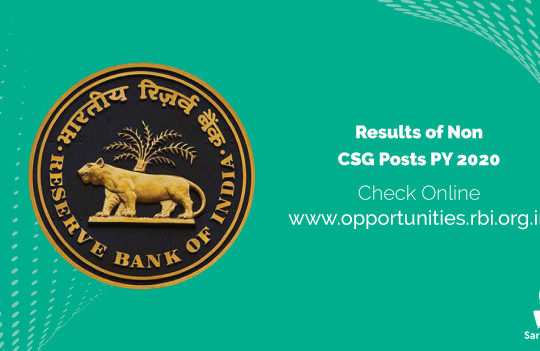RBI Result 2021 Results of Non-CSG Posts PY 2020