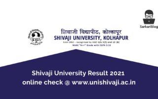 Shivaji University Result 2021 online check @ www.unishivaji.ac.in