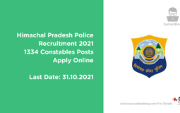 Himachal Pradesh Police Recruitment 2021, 1334 Constables Posts, Apply Online
