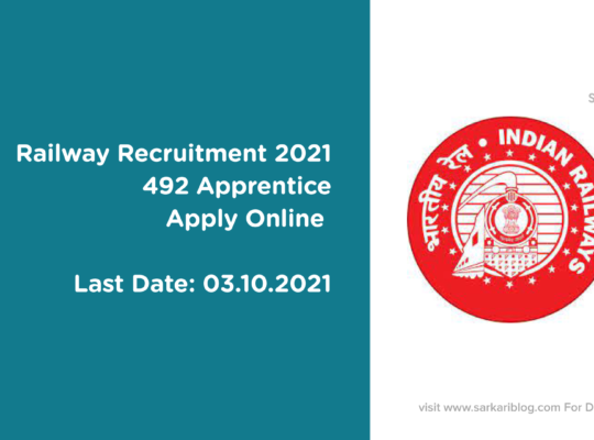Railway Recruitment 2021, 492 Apprentice, Apply Online