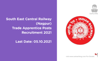 South East Central Railway (Nagpur) Trade Apprentice Posts Recruitment 2021