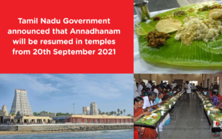 Tamil Nadu Government announced that Annadhanam will be resumed in temples from 20th September 2021