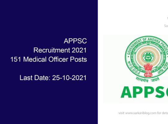 APPSC Recruitment 2021, 151 Medical Officer Posts