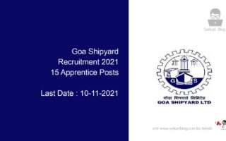 Goa Shipyard Recruitment 2021, 15 Apprentice Posts