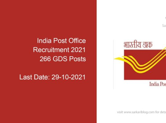 India Post Office Recruitment 2021, 266 GDS Posts